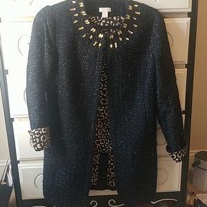 Chico's tweed blk embalished jacket ❤